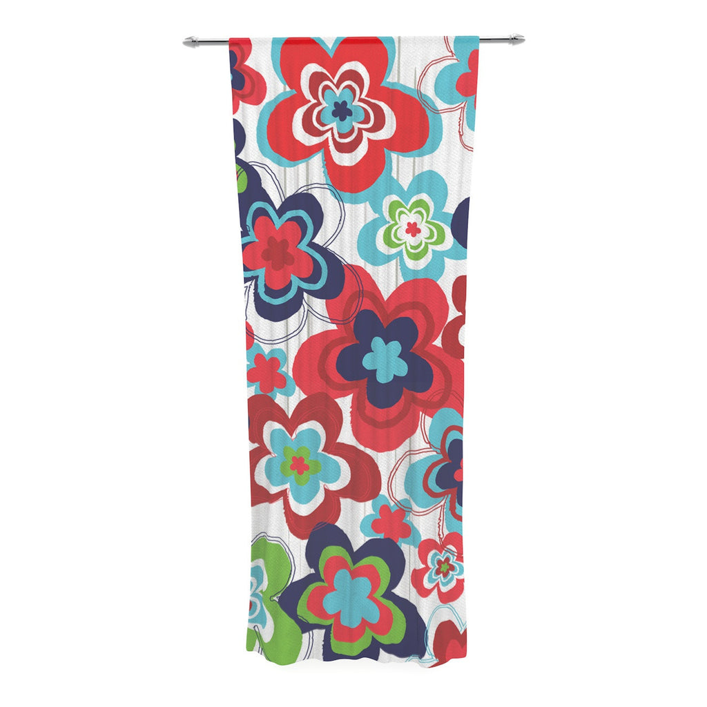 "Jolene Heckman ""A Cheerful Morning"" Blue Red Decorative Sheer Curtain - KESS InHouse  - 1"