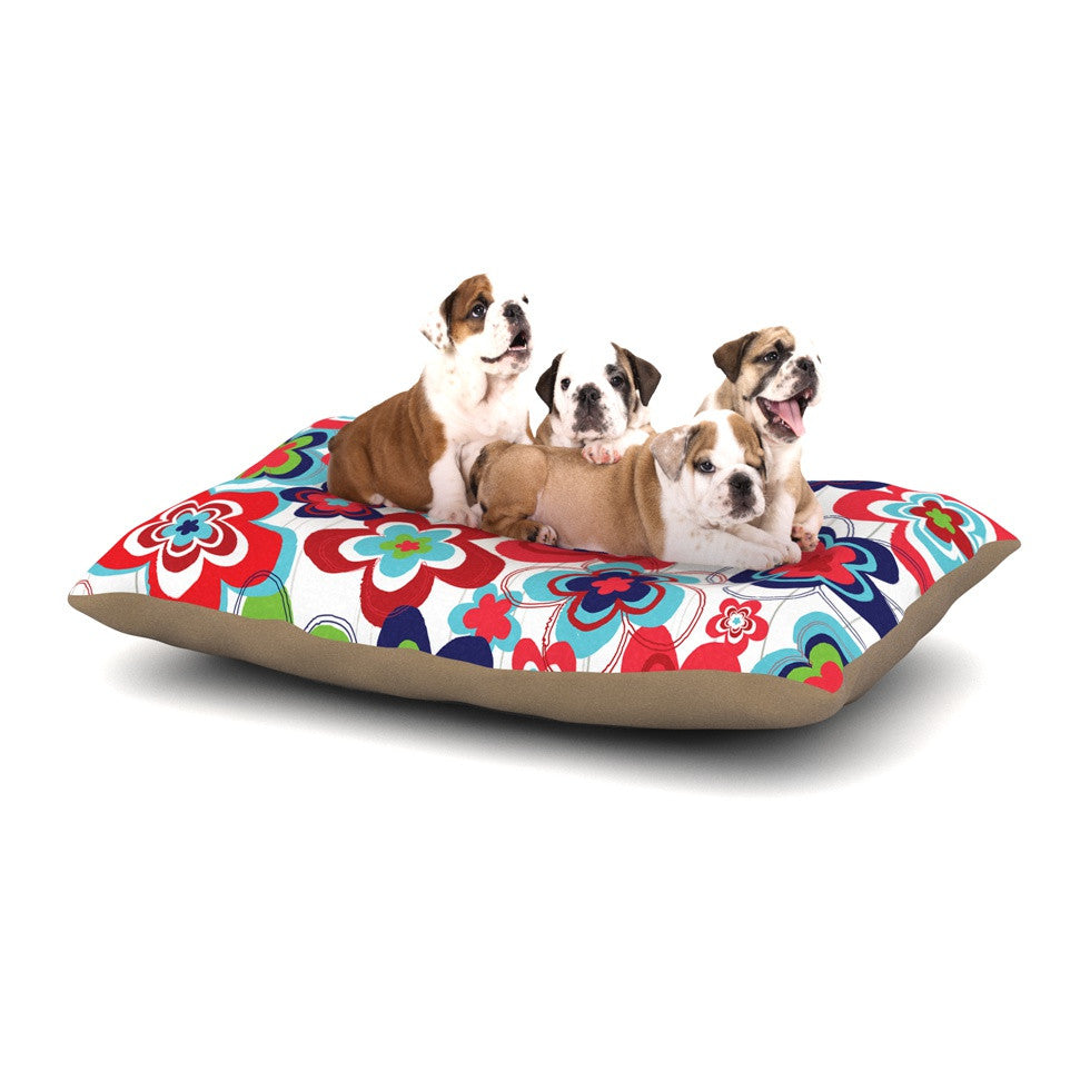 "Jolene Heckman ""A Cheerful Morning"" Blue Red Dog Bed - KESS InHouse  - 1"