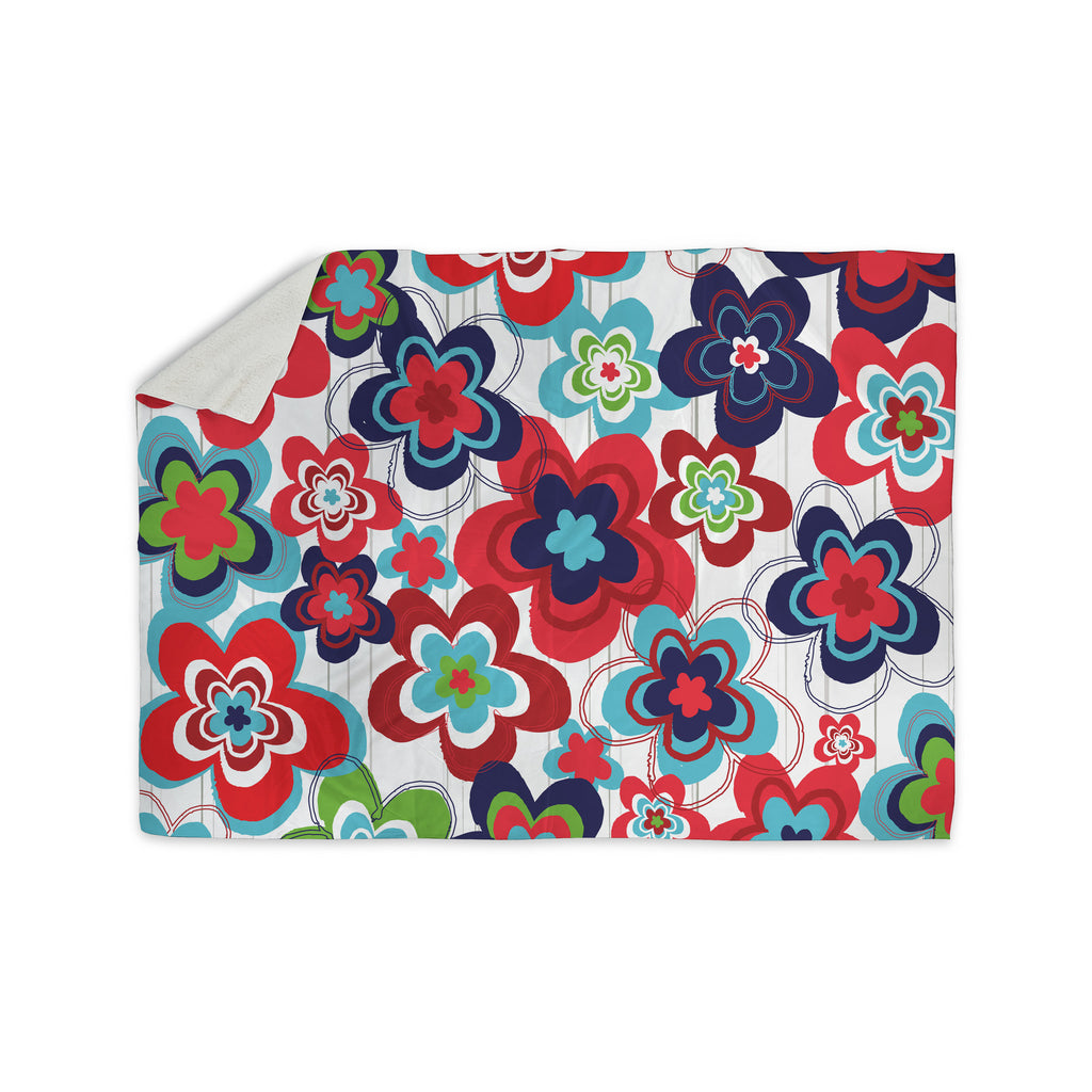 "Jolene Heckman ""A Cheerful Morning"" Blue Red Sherpa Blanket - KESS InHouse  - 1"