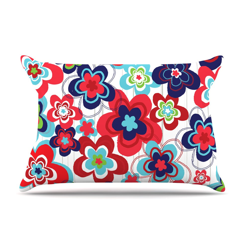 "Jolene Heckman ""A Cheerful Morning"" Blue Red Pillow Sham - KESS InHouse"
