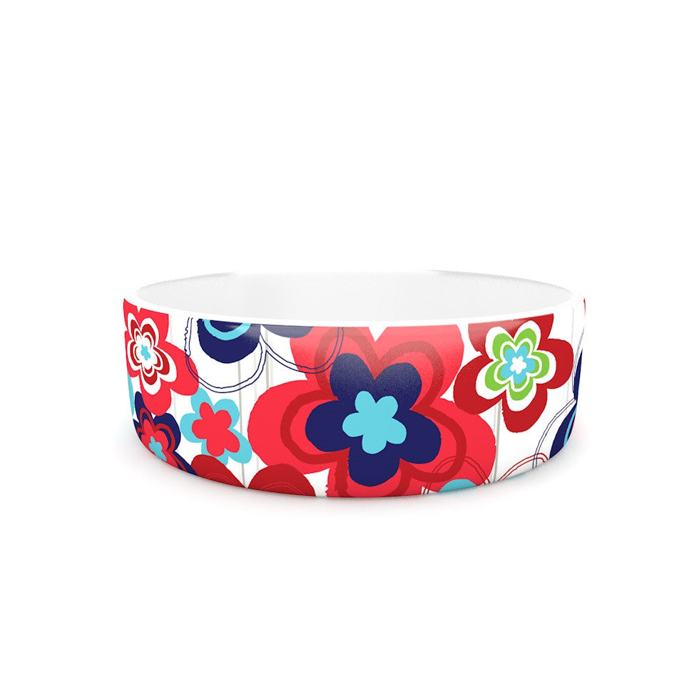 "Jolene Heckman ""A Cheerful Morning"" Blue Red Pet Bowl - KESS InHouse"