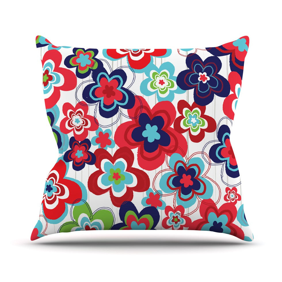 "Jolene Heckman ""A Cheerful Morning"" Blue Red Outdoor Throw Pillow - KESS InHouse  - 1"