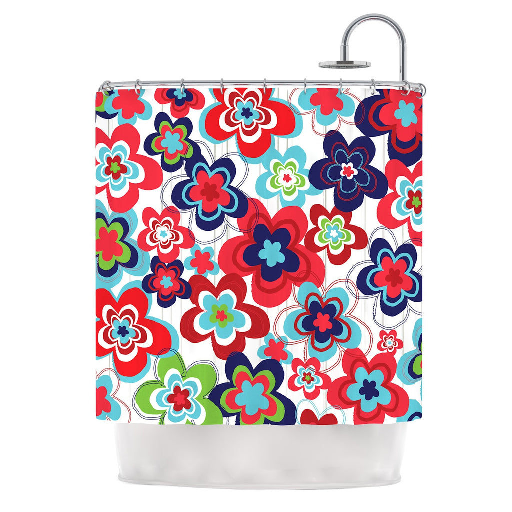"Jolene Heckman ""A Cheerful Morning"" Blue Red Shower Curtain - KESS InHouse"