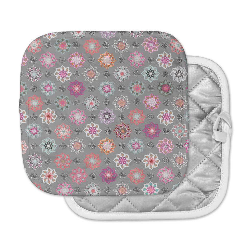 "Jolene Heckman	 ""Mini Floral "" Pink Gray Pot Holder"