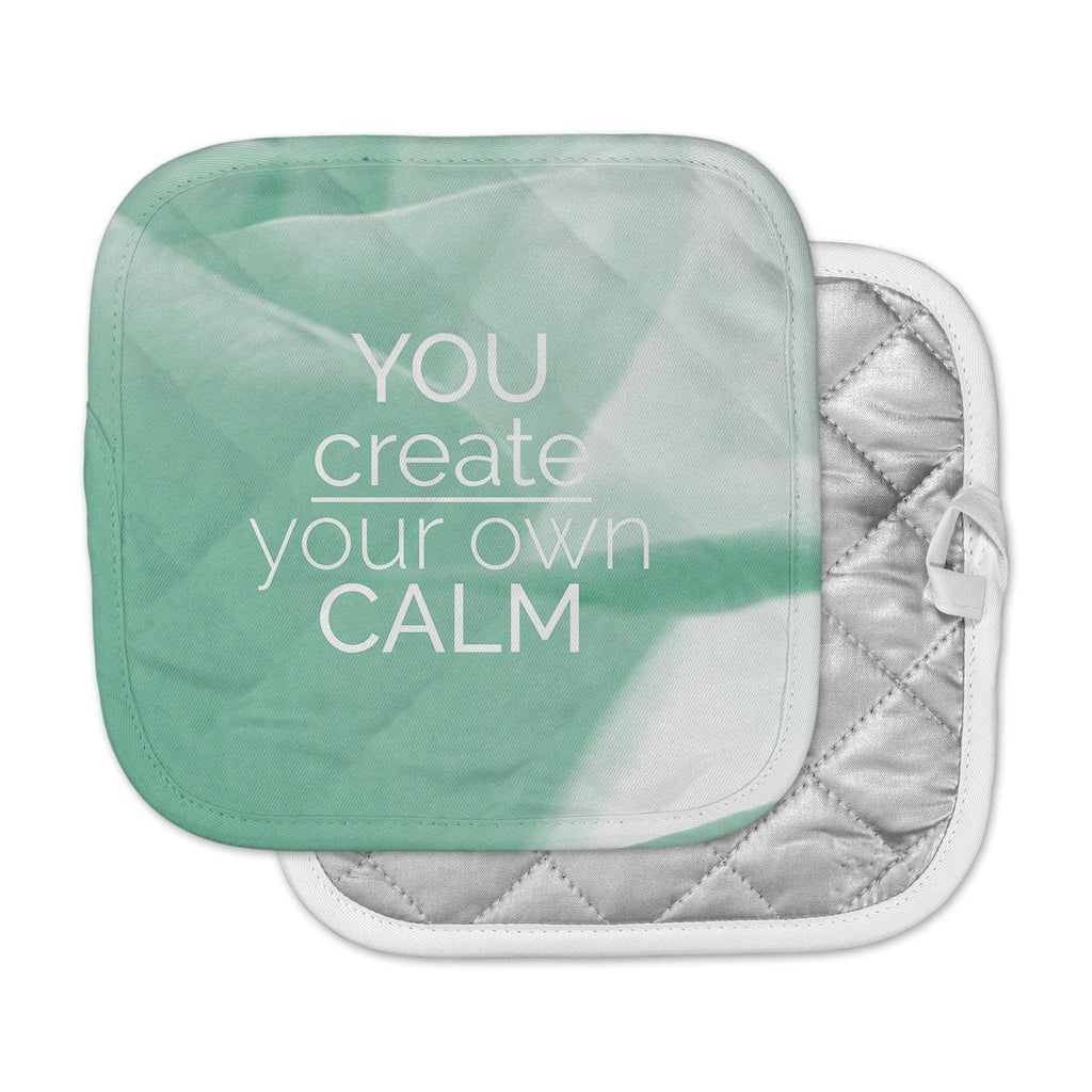 "Tiny September ""You Create Your Own Calm"" Pastel White Photography Pot Holder"