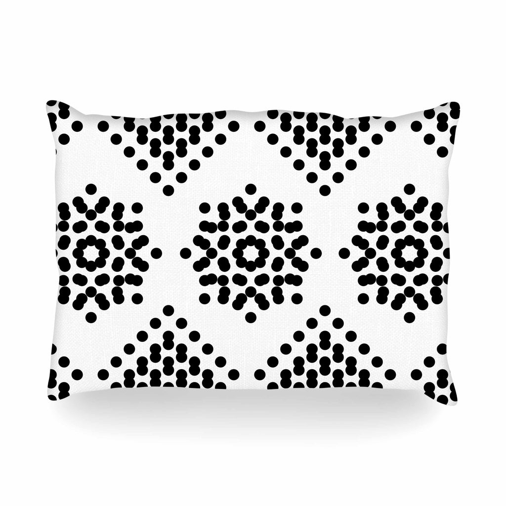 "Tiny September ""Black And White Dot Party"" Black White Digital Oblong Pillow"