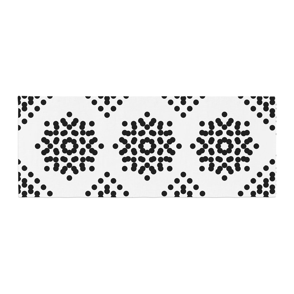 "Tiny September ""Black And White Dot Party"" Black White Digital Bed Runner"