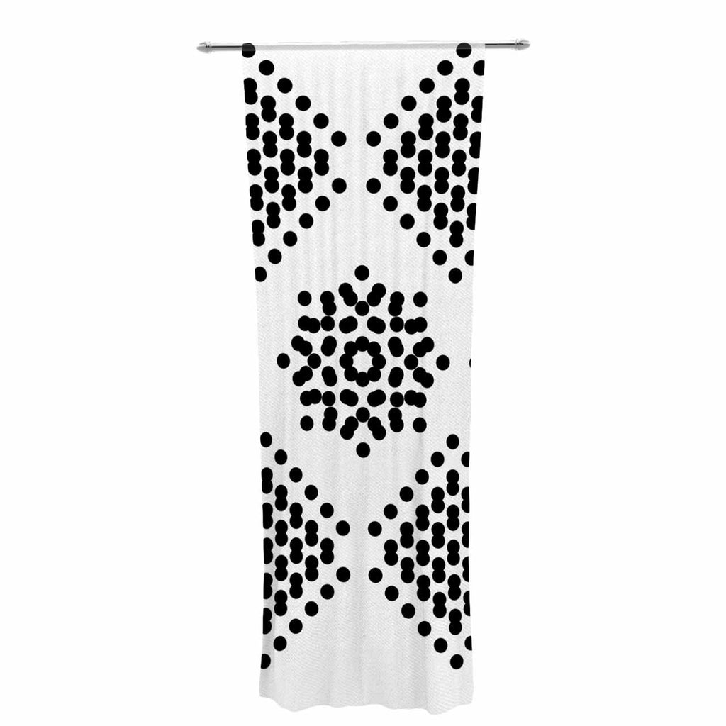 "Tiny September ""Black And White Dot Party"" Black White Digital Decorative Sheer Curtain"