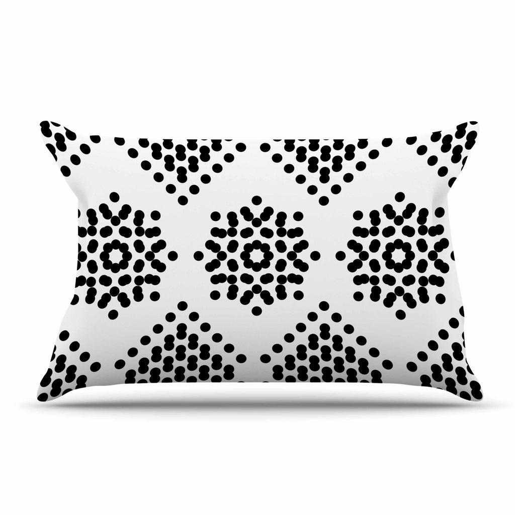 "Tiny September ""Black And White Dot Party"" Black White Digital Pillow Sham"