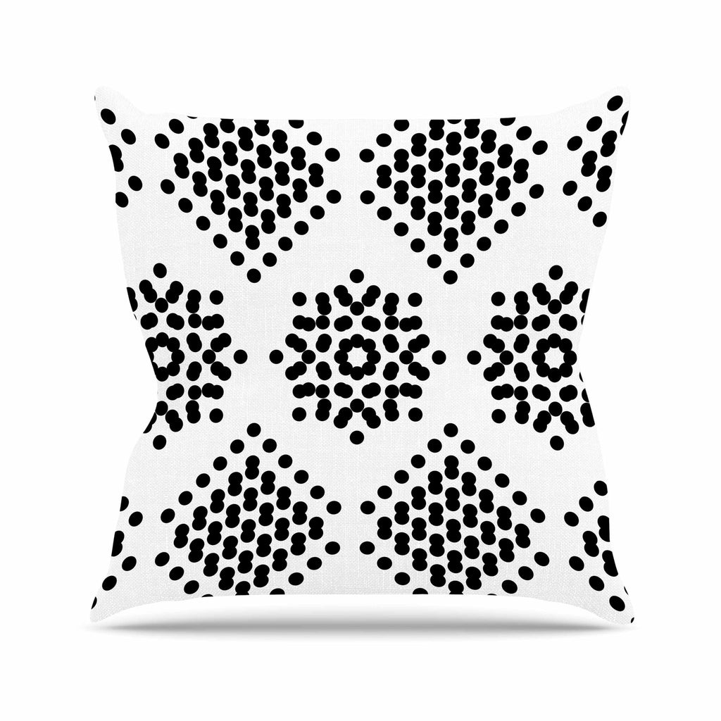 "Tiny September ""Black And White Dot Party"" Black White Digital Throw Pillow"