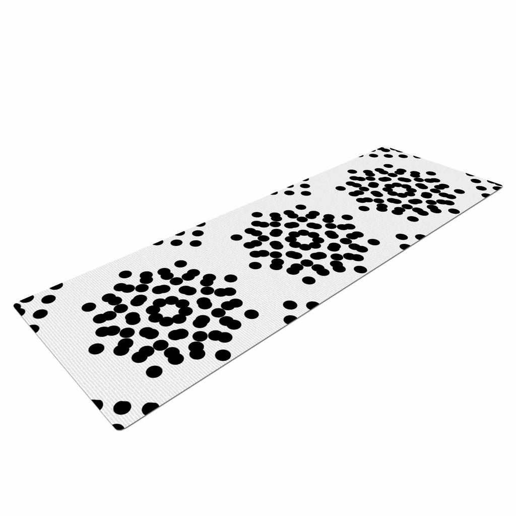 "Tiny September ""Black And White Dot Party"" Black White Digital Yoga Mat"