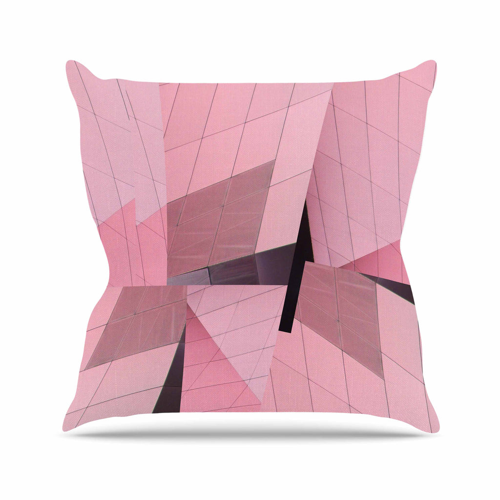 "Tiny September ""Pink Flamingo"" Pink Black Digital Outdoor Throw Pillow"