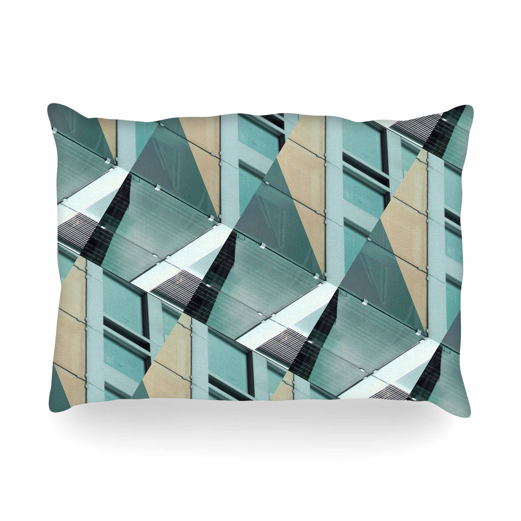 "Tiny September ""Diagonal Arrows"" Beige Blue Photography Oblong Pillow"