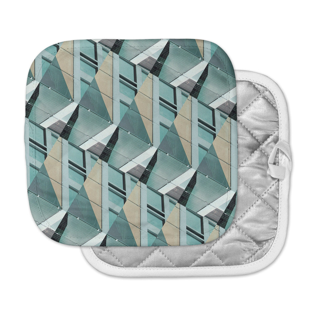 "Tiny September ""Diagonal Arrows"" Beige Blue Photography Pot Holder"