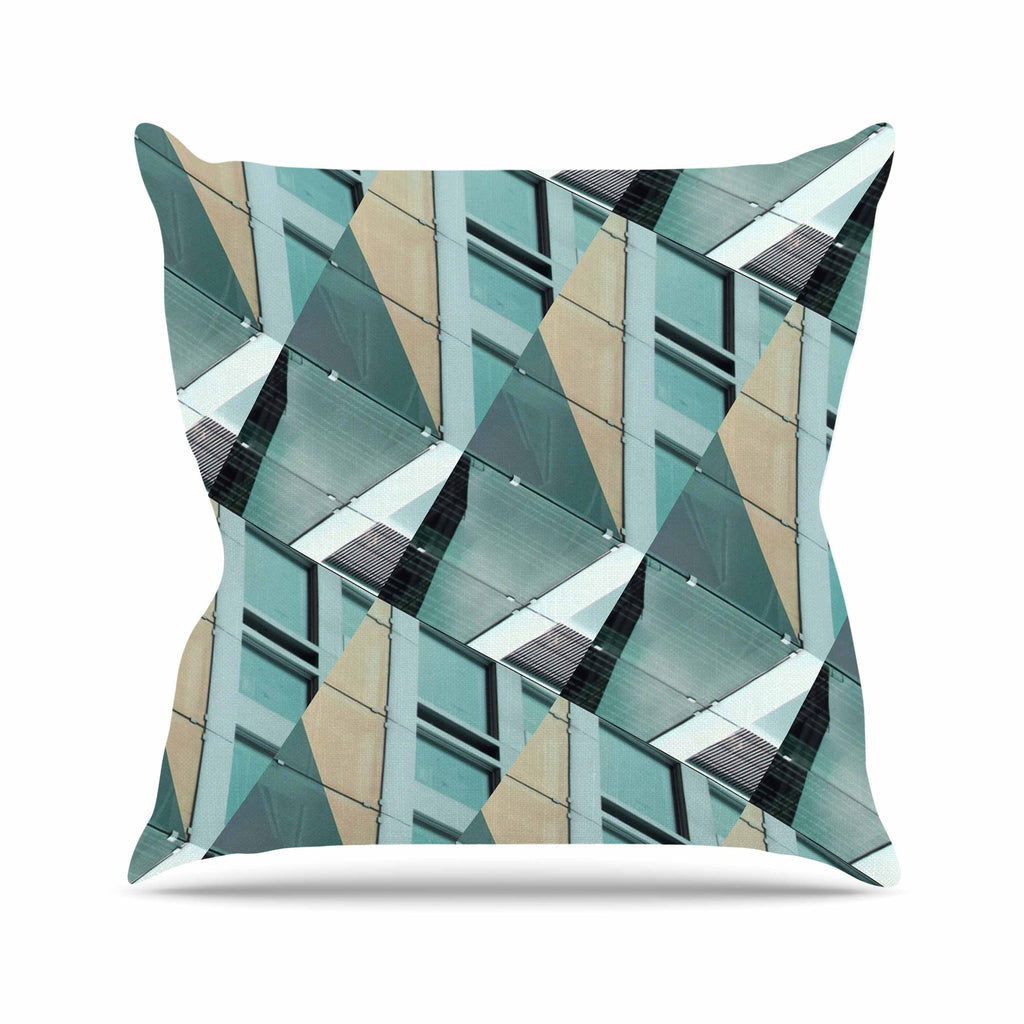 "Tiny September ""Diagonal Arrows"" Beige Blue Photography Throw Pillow"