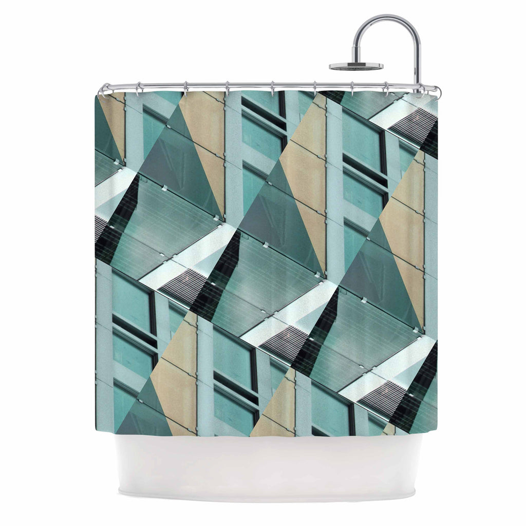 "Tiny September ""Diagonal Arrows"" Beige Blue Photography Shower Curtain"