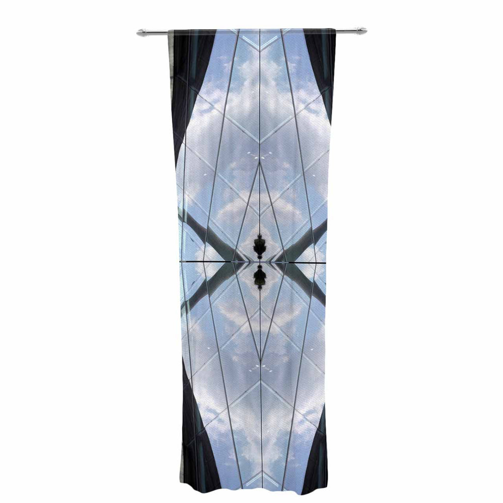 "Tiny September ""Butterfly Glass"" Blue Black Photography Decorative Sheer Curtain"