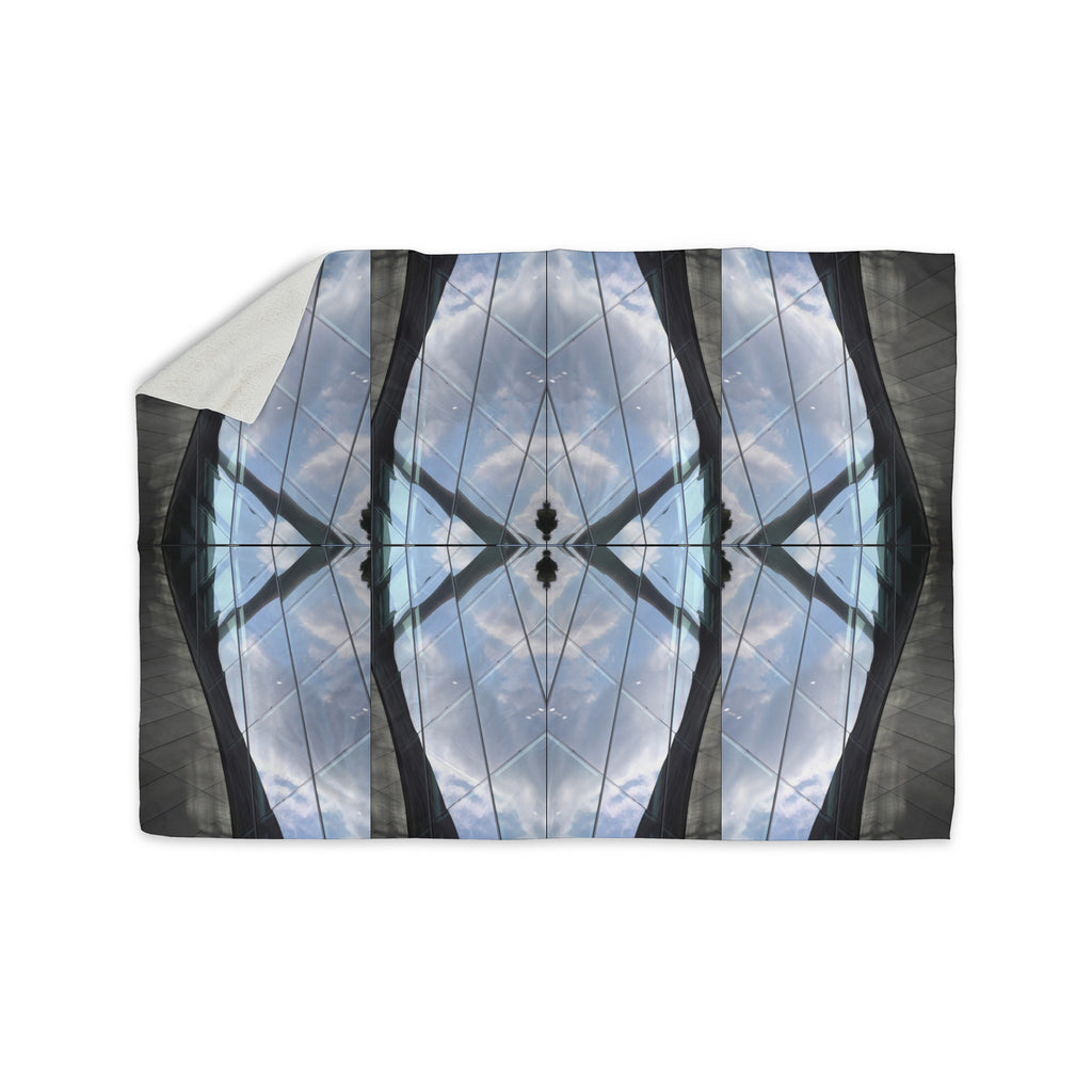 "Tiny September ""Butterfly Glass"" Blue Black Photography Sherpa Blanket - KESS InHouse"