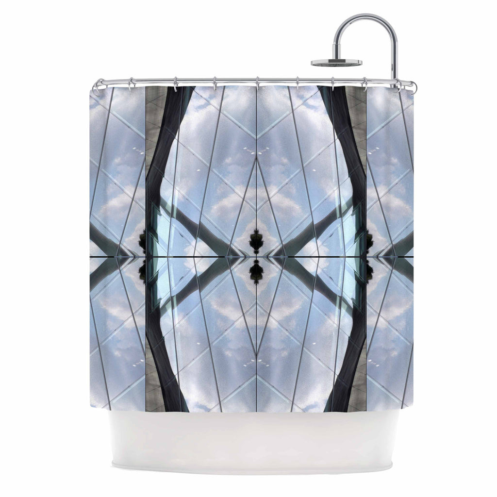 "Tiny September ""Butterfly Glass"" Blue Black Photography Shower Curtain"