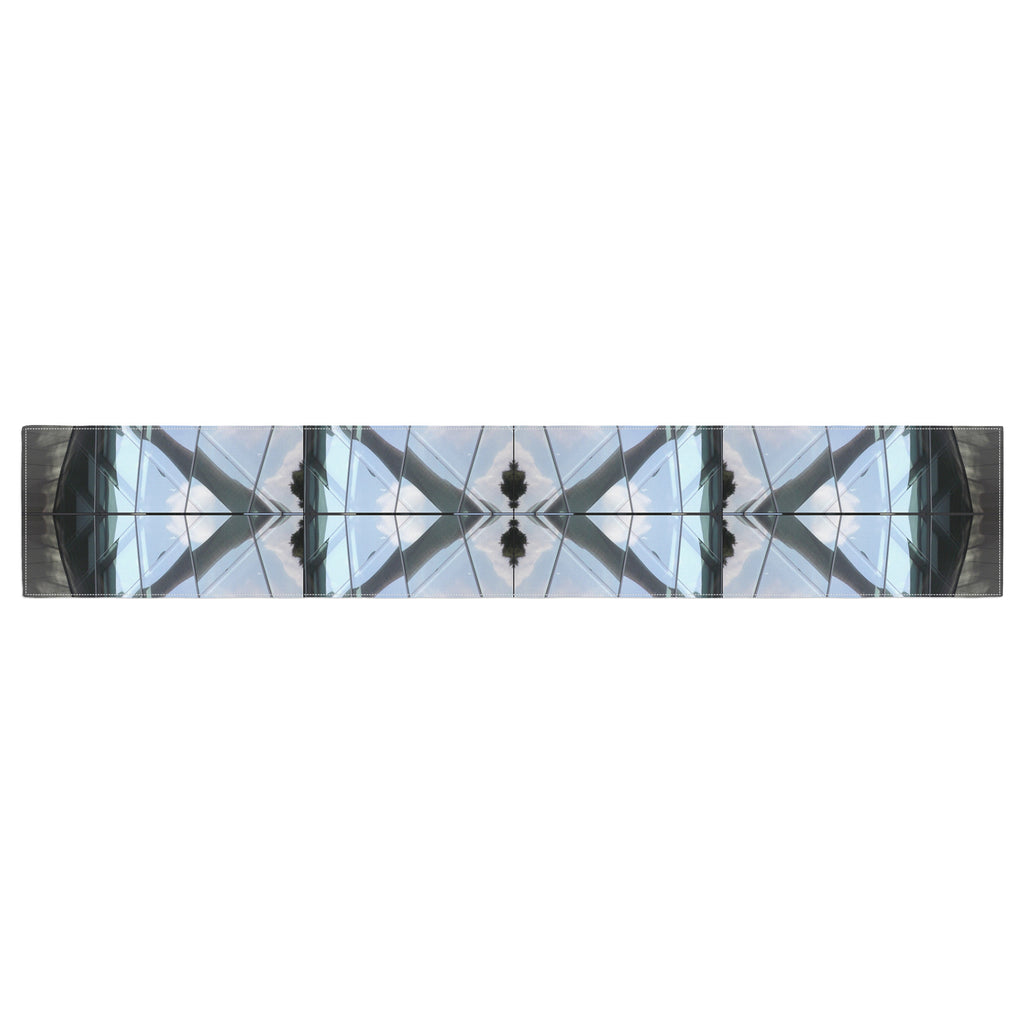 "Tiny September ""Butterfly Glass"" Blue Black Photography Table Runner"