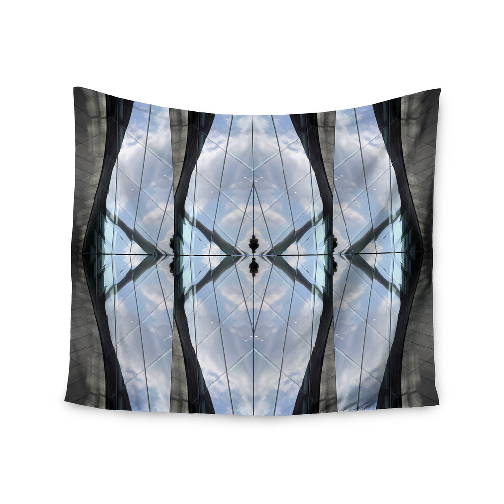 "Tiny September ""Butterfly Glass"" Blue Black Photography Wall Tapestry - KESS InHouse  - 1"