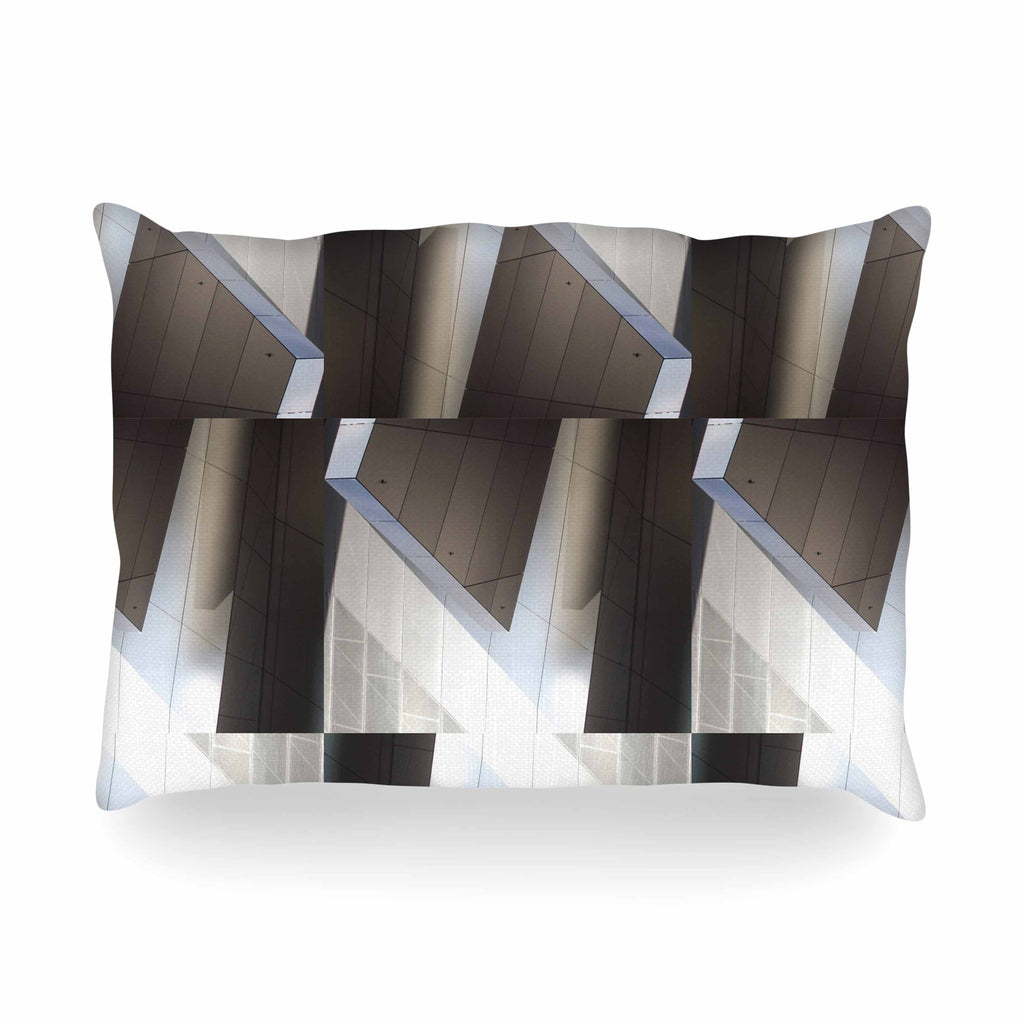 "Tiny September ""Architexture"" Gray White Photography Oblong Pillow"