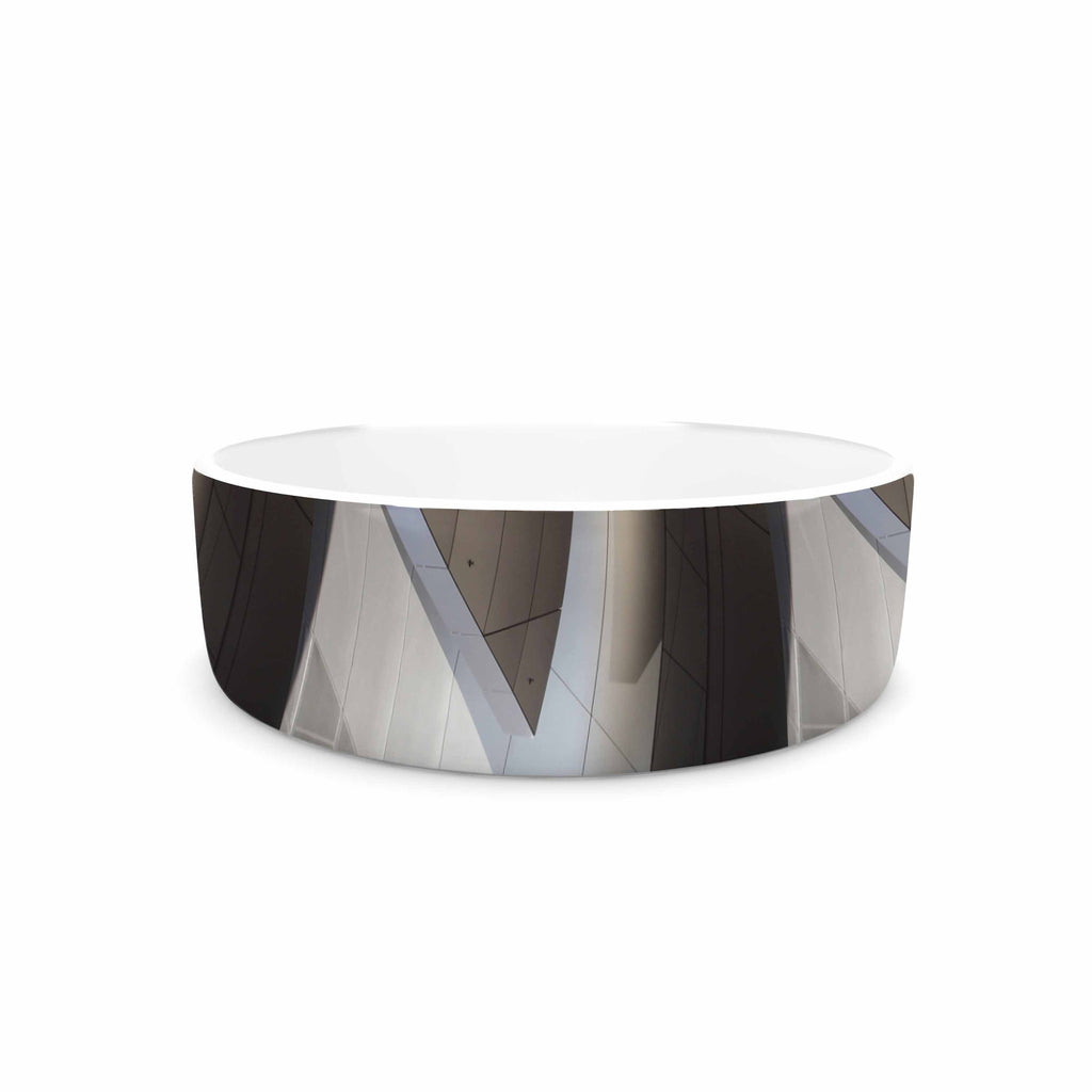 "Tiny September ""Architexture"" Gray White Photography Pet Bowl"