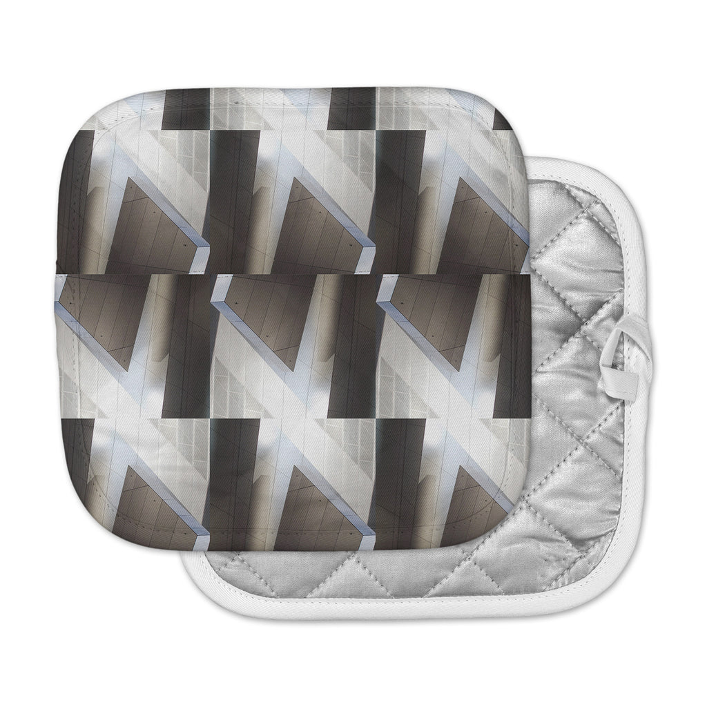 "Tiny September ""Architexture"" Gray White Photography Pot Holder"