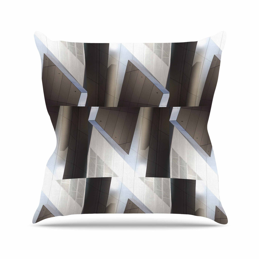 "Tiny September ""Architexture"" Gray White Photography Outdoor Throw Pillow"
