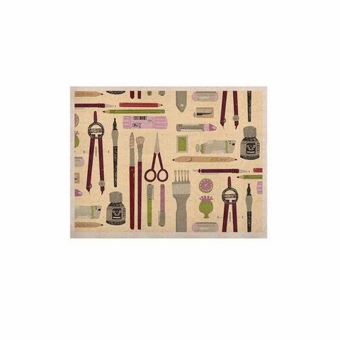 "Judith Loske ""Art Supplies"" Tan Pattern KESS Naturals Canvas (Frame not Included) - KESS InHouse  - 1"