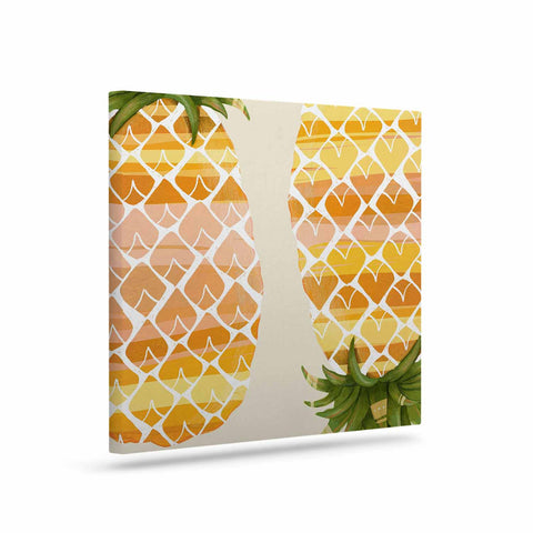 "Judith Loske ""Happy Pineapples "" Yellow Gold Canvas Art - KESS InHouse  - 1"