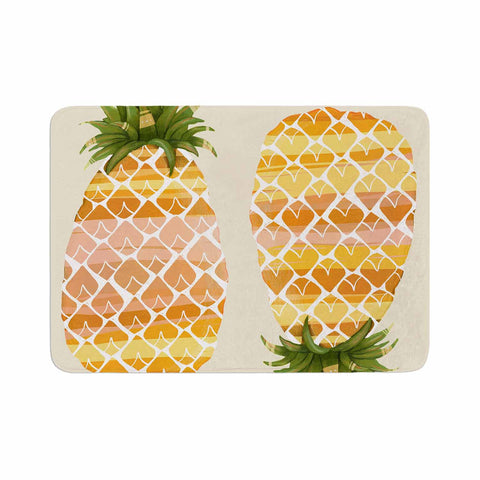 "Judith Loske ""Happy Pineapples "" Yellow Gold Memory Foam Bath Mat - KESS InHouse"