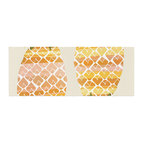 "Judith Loske ""Happy Pineapples "" Yellow Gold Bed Runner - KESS InHouse"