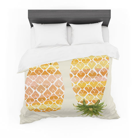 "Judith Loske ""Happy Pineapples "" Yellow Gold Featherweight Duvet Cover"