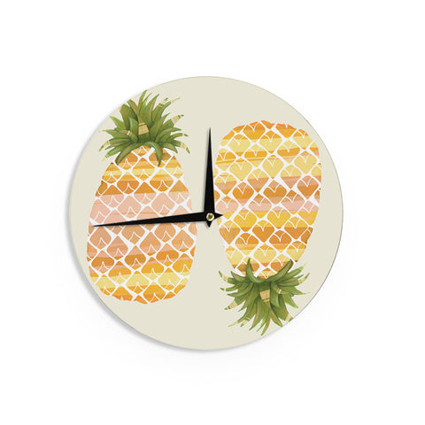 "Judith Loske ""Happy Pineapples "" Yellow Gold Wall Clock - KESS InHouse"