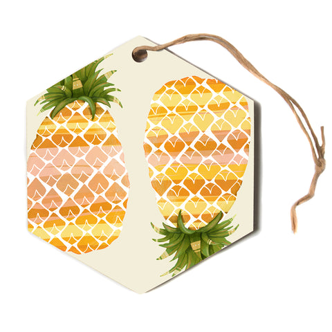 "judith Loske ""Happy Pineapples""  Hexagon Holiday Ornament"