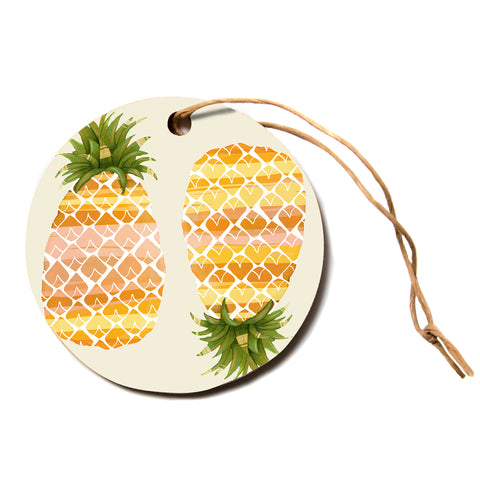 "judith Loske ""Happy Pineapples""  Circle Holiday Ornament"