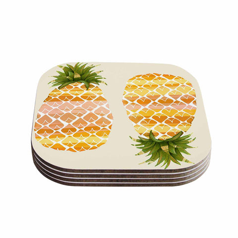 "Judith Loske ""Happy Pineapples "" Yellow Gold Coasters (Set of 4)"