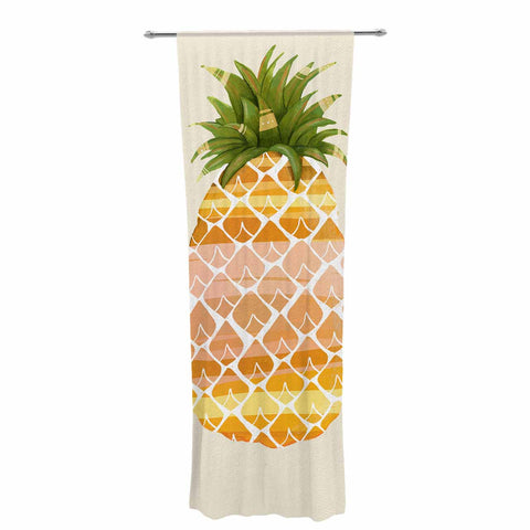 "Judith Loske ""Happy Pineapples "" Yellow Gold Decorative Sheer Curtain - KESS InHouse  - 1"