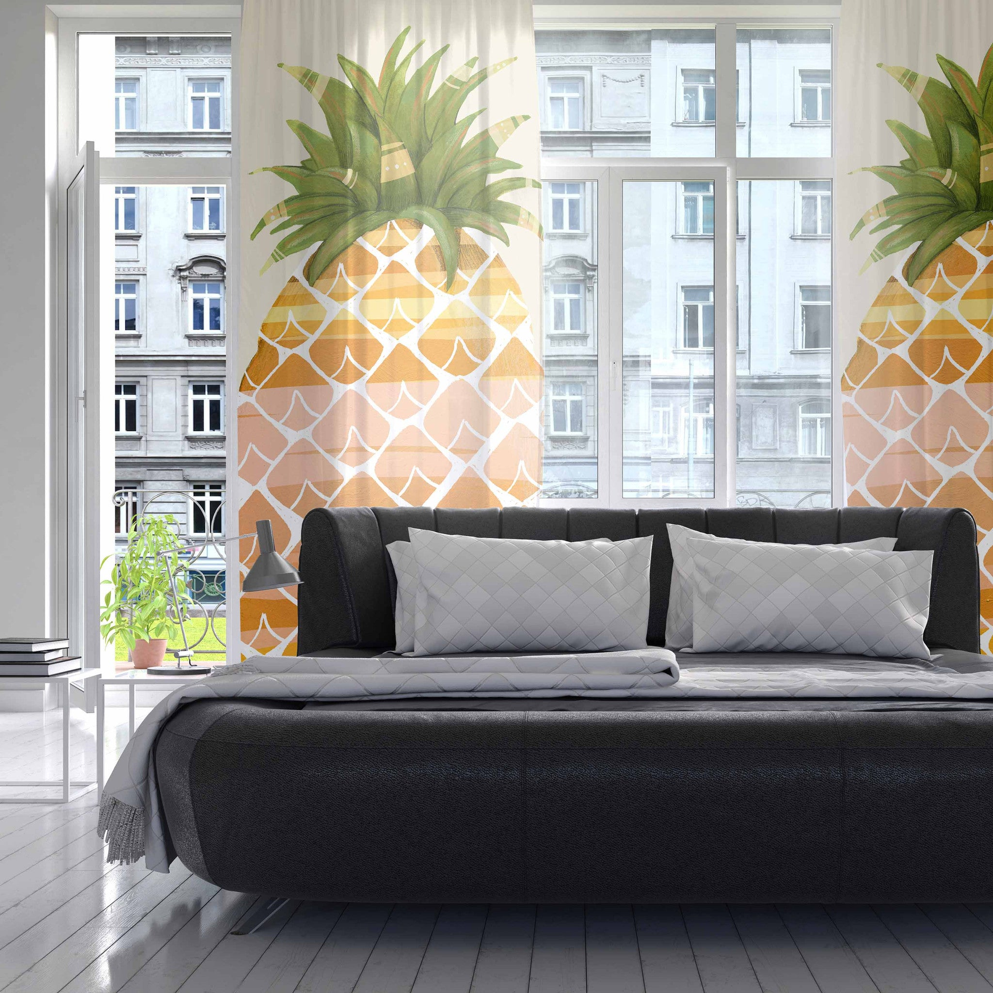 Sheer yellow curtains - Sheer Yellow Curtains For Living Room Judith Loske Happy Pineapples Yellow Gold Decorative Sheer Curtain