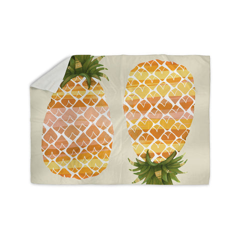 "Judith Loske ""Happy Pineapples "" Yellow Gold Sherpa Blanket - KESS InHouse  - 1"
