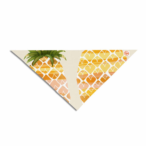 "Judith Loske ""Happy Pineapples "" Yellow Gold Pet Bandana - KESS InHouse  - 1"