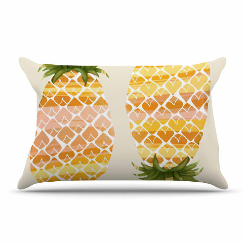 "Judith Loske ""Happy Pineapples "" Yellow Gold Pillow Sham - KESS InHouse  - 1"