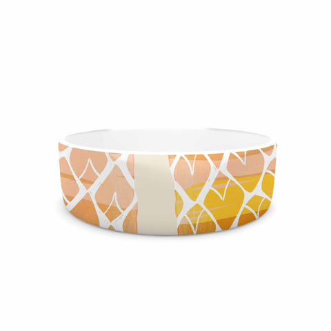 "Judith Loske ""Happy Pineapples "" Yellow Gold Pet Bowl - KESS InHouse"