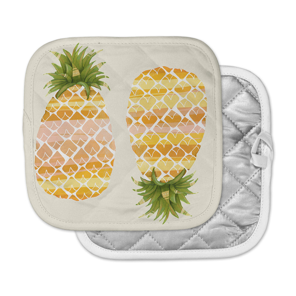"Judith Loske ""Happy Pineapples "" Yellow Gold Pot Holder"