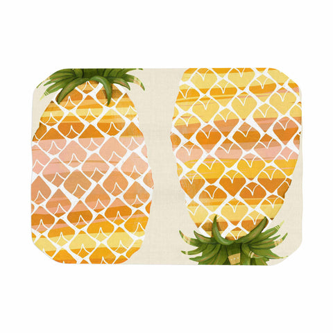 "Judith Loske ""Happy Pineapples "" Yellow Gold Place Mat - KESS InHouse"