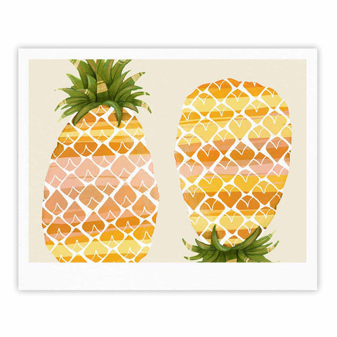 "Judith Loske ""Happy Pineapples "" Yellow Gold Fine Art Gallery Print - KESS InHouse"