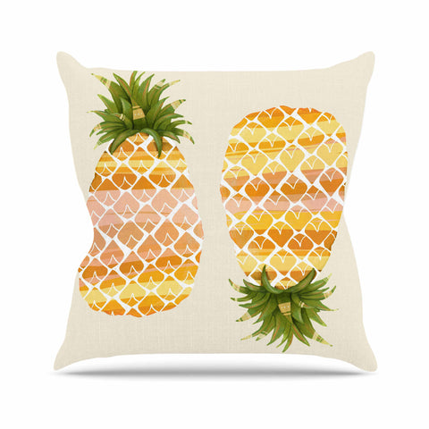 "Judith Loske ""Happy Pineapples "" Yellow Gold Outdoor Throw Pillow - KESS InHouse  - 1"