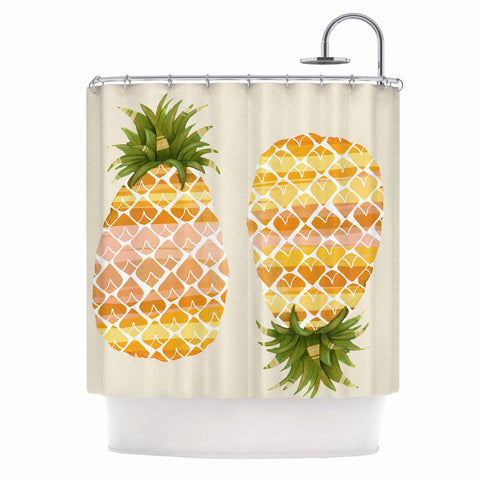 "Judith Loske ""Happy Pineapples "" Yellow Gold Shower Curtain - KESS InHouse"