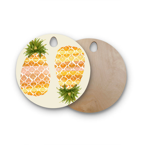 "Judith Loske ""Happy Pineapples"" Round Wooden Cutting Board"